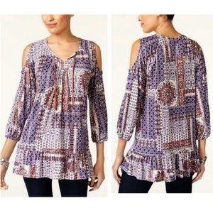 Style & Co. Boho peasant 3/4 sl cold shoulder top